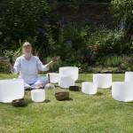 Laurelle holding bowls garden